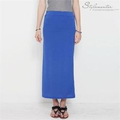 Stylementor - Banded-Waist Long Pencil Skirt