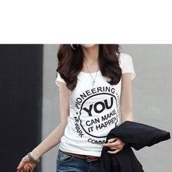 Zyote - 短袖字母 T 恤