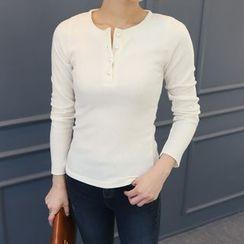 DANI LOVE - Faux-Pearl Button Long-Sleeve Top