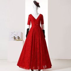 Royal Style - Short-Sleeve A-line Lace Evening Gown