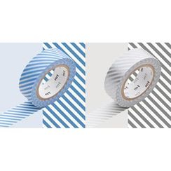 mt - mt Masking Tape : mt 2P Stripe Light Blue x Silver
