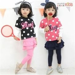 nanakids - Girls Set: Dotted T-Shirt + Inset Skirt Leggings