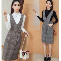 MAVIS - Set: Mock Neck Long-Sleeve Knit Top + Buttoned Plaid V-Neck Pinafore Dress