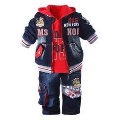 KUBEBI - 童裝套裝: 印花棒球夾克 + 連帽衫 + 牛仔褲