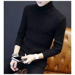 Zeesebon - Plain Turtleneck Long Sleeve Knit Top