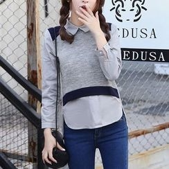 Jolly Club - Inset Shirt Cropped Pullover