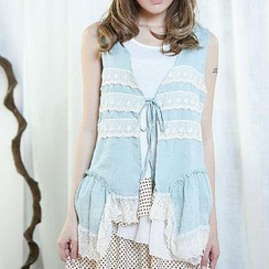 Blue Hat - Tie-Front Lace-Trim Denim Vest