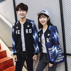 Tabula Rasa - Couple Matching Chevron Panel Bomber Jacket