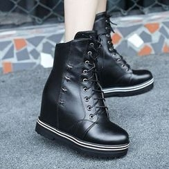 JY Shoes - Star Studded Hidden Wedge Lace Up Boots