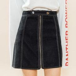 Heynew - Zip Front A-Line Mini Denim Skirt