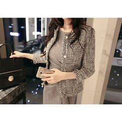 Marlangrouge - Faux-Pearl Button Tweed Jacket