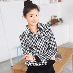 59 Seconds - Double-Breasted Houndstooth Cropped Jacket
