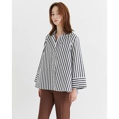 Someday, if - Collared Half-Placket Striped Top
