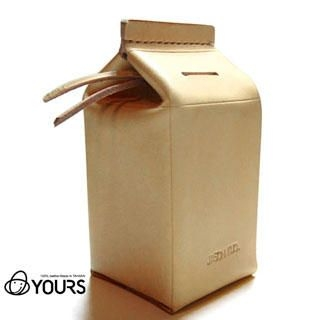 Customizable Genuine Leather 'Milk Carton' Money Box