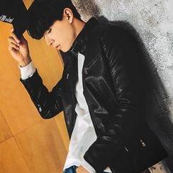 MEOSIDDA - Zip-Up Faux-Leather Jacket
