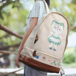 SUPER LOVER - Cat-Print Canvas Backpack