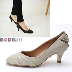 MODELSIS - Zip-Trim Faux-Leather Pumps