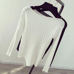 Honeydew - Asymmetrical Hem Boat Neck Knit Top
