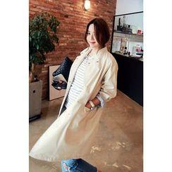 Momnuri - Maternity Stand-Collar Snap-Button Coat