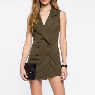 Richcoco - Double-Breasted Sleeveless Playsuit
