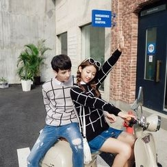 Simpair - Couple Matching Mock Two Piece Window Pane Sweater