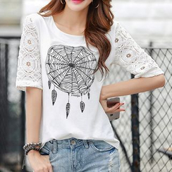 Zyote - Dream Catcher Print Crewneck T-Shirt