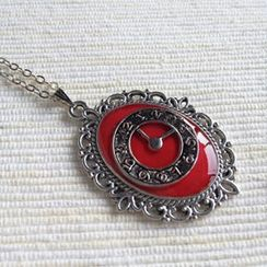MyLittleThing - Silver Clock Necklace (Red)