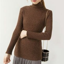 Honey House - Plain Turtleneck Long Sleeve Knit Top