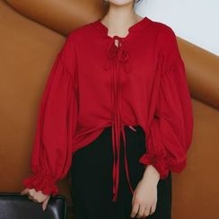 SUYISODA - Tie-Front Long-Sleeve Blouse