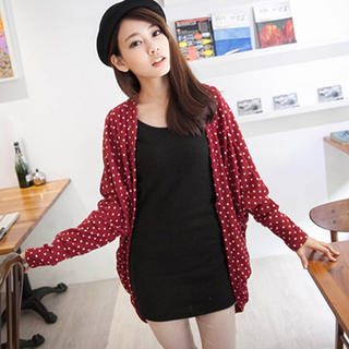 Tokyo Fashion - Batwing-Sleeve Patterned Open-Front Cardigan