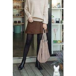 CHERRYKOKO - Wool Blend A-Line Mini Skirt