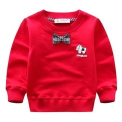 Endymion - Kids Gingham Print Bow Accent Pullover