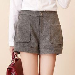 NiFFe - Wool Blend Pocket-Accent Shorts
