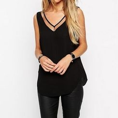 Richcoco - V-neck Mesh Panel Chiffon Tank Top