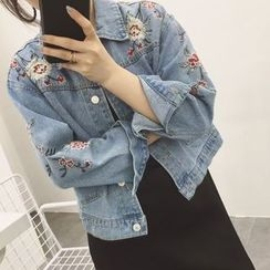 Anlay - Embroidered Floral Loose-Fit Denim Jacket