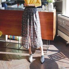 Cherryville - Floral Pattern A-Line Chiffon Skirt
