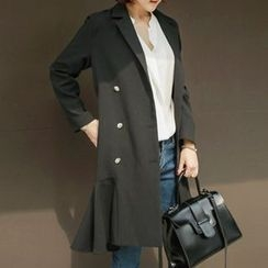 Fashion Street - Double Breasted Ruffle Hem Trench Coat