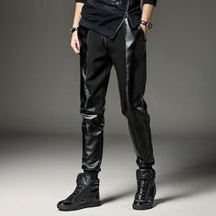 KANGI - Faux-Leather Harem Pants