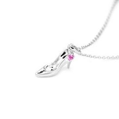MBLife.com - 925 純銀甜美高跟鞋 (鑲上單顆粉紅色藍寶石) 項鏈 (16吋)