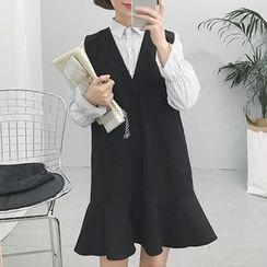 Moon City - Set: Striped Shirt + Pinafore Dress