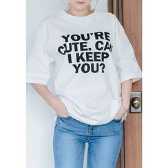 REDOPIN - Round-Neck Lettering T-Shirt