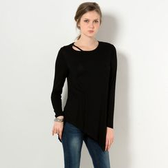 YesStyle Z - Long-Sleeve Cutout Long T-Shirt