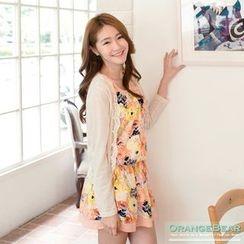 OrangeBear - 套装: 蕾丝滚边罩衫 + 花裙