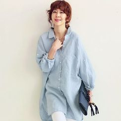EFO - Long-Sleeve Loose-Fit Long Shirt