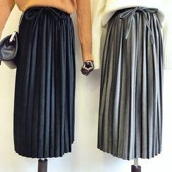 DIYI - High-Waist Velvet Pleated A-Line Skirt