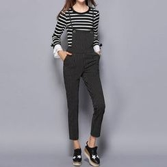 Merald - Set: Striped Bell-Sleeve T-Shirt + Striped Jumper Pants