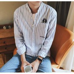 Bestrooy - Dog Embroidered Striped Shirt