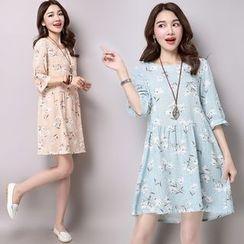 Salisha - Floral Print Elbow-Sleeve Linen-blend Dress