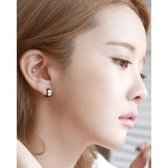 Miss21 Korea - Rhinestone Mini Hoop Earrings