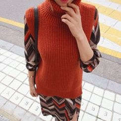 DABAGIRL - Turtle-Neck Sleeveless Wool Blend Knit Top